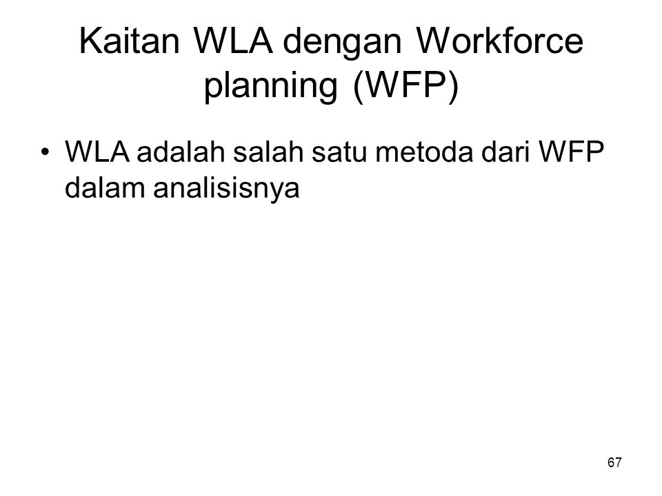 Kaitan WLA dengan Workforce planning (WFP)