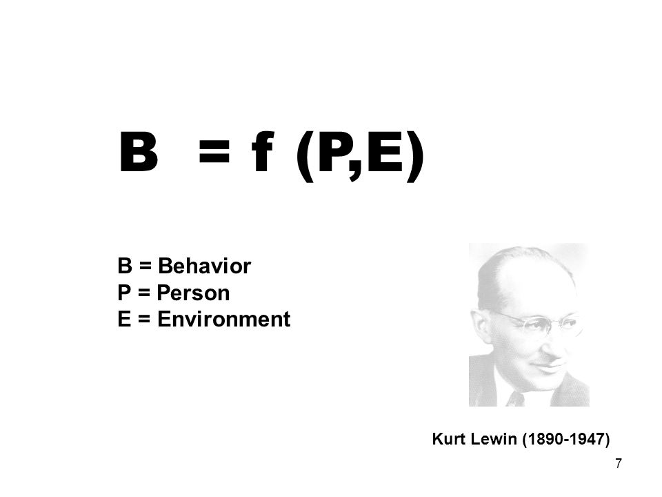 B = f (P,E) B = Behavior P = Person E = Environment