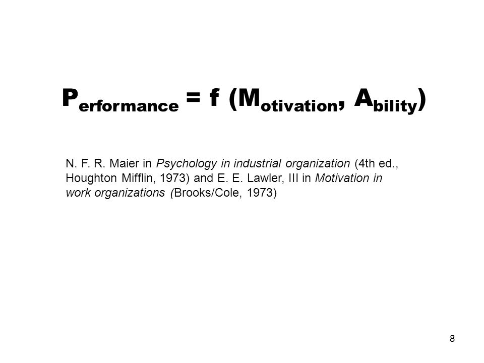 Performance = f (Motivation, Ability)