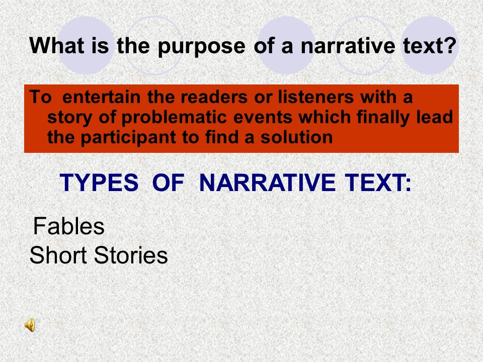 What is the purpose of a narrative text