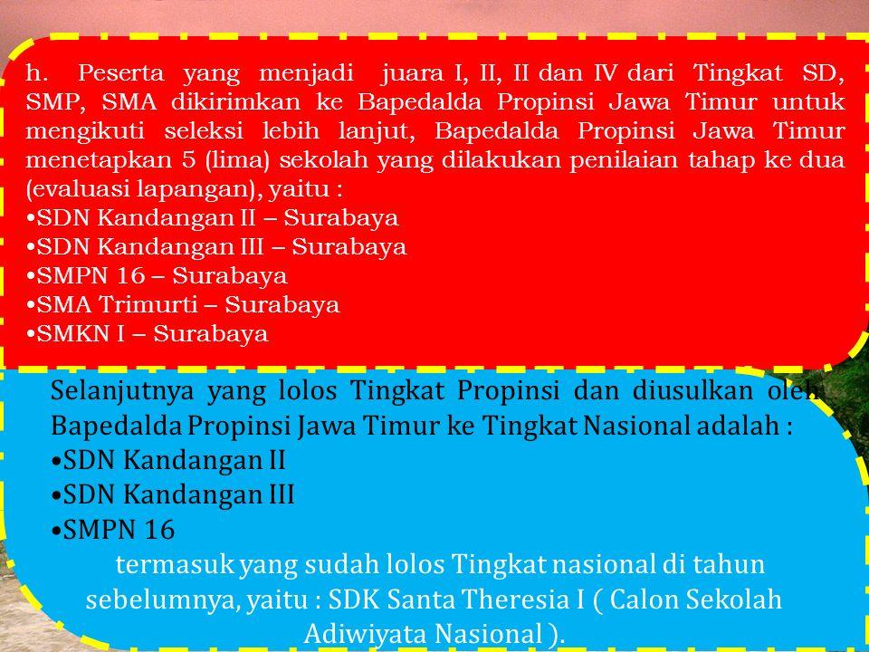 h. Peserta yang menjadi juara I, II, II dan IV dari Tingkat SD, SMP, SMA dikirimkan ke Bapedalda Propinsi Jawa Timur untuk mengikuti seleksi lebih lanjut, Bapedalda Propinsi Jawa Timur menetapkan 5 (lima) sekolah yang dilakukan penilaian tahap ke dua (evaluasi lapangan), yaitu :