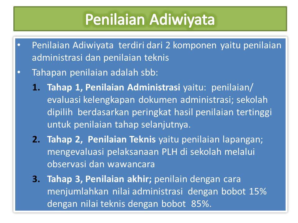 Penilaian Adiwiyata Penilaian Adiwiyata terdiri dari 2 komponen yaitu penilaian administrasi dan penilaian teknis.