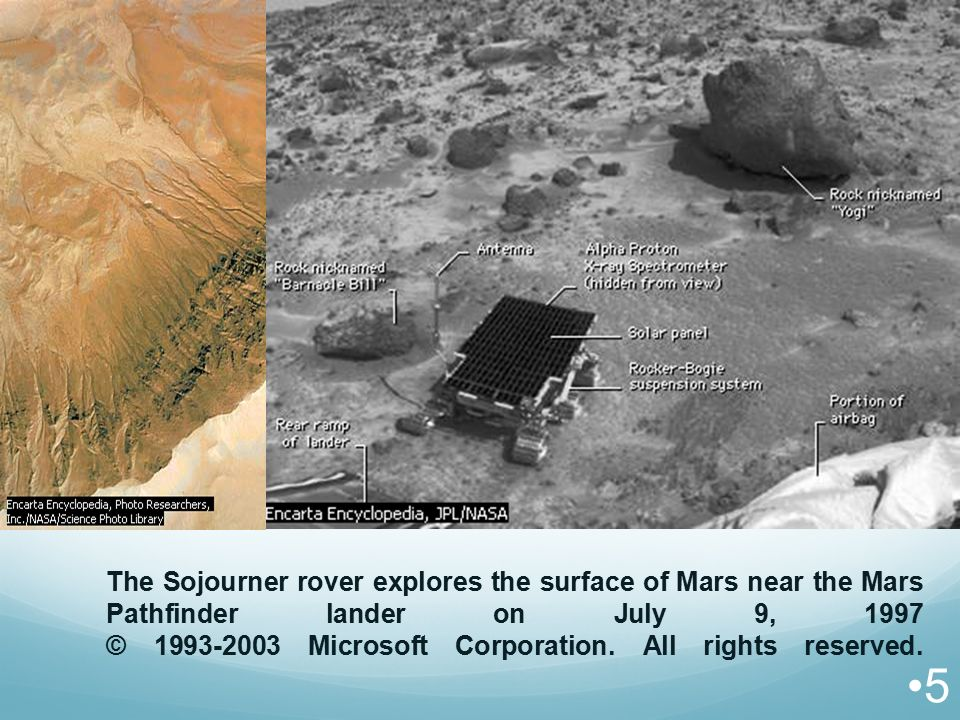 The Sojourner rover explores the surface of Mars near the Mars Pathfinder lander on July 9, 1997 © 1993-2003 Microsoft Corporation.