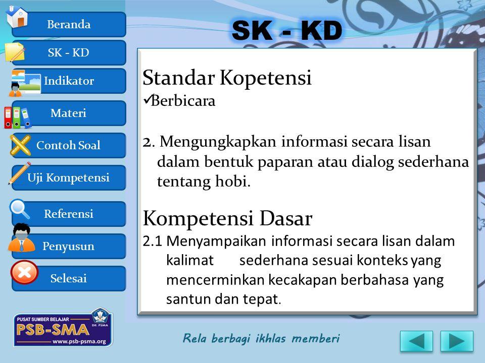 SK - KD Standar Kopetensi Kompetensi Dasar