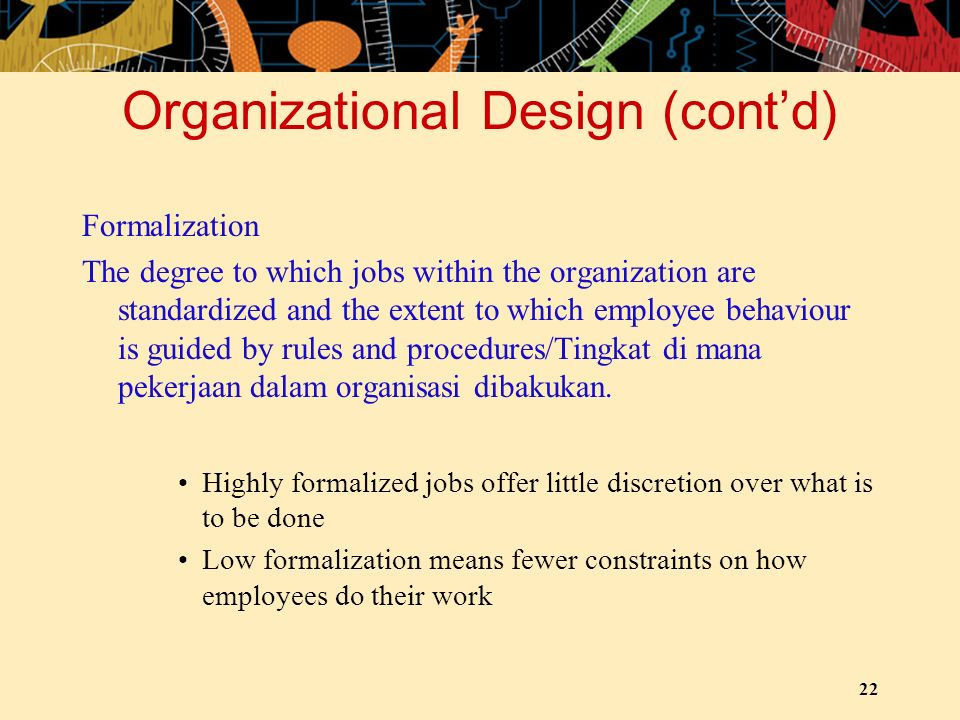 Organizational Design (cont'd)