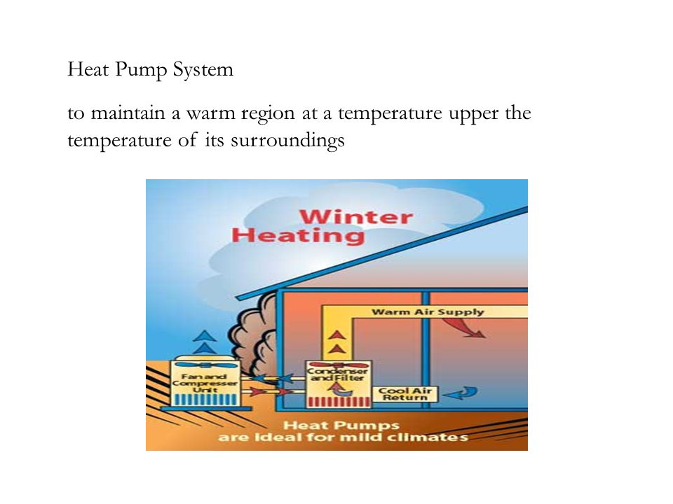 Heat Pump System to maintain a warm region at a temperature upper the temperature of its surroundings.