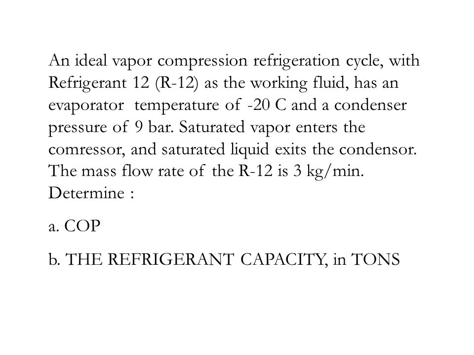 An ideal vapor compression refrigeration cycle, with Refrigerant 12 (R-12) as the working fluid, has an evaporator temperature of -20 C and a condenser pressure of 9 bar. Saturated vapor enters the comressor, and saturated liquid exits the condensor. The mass flow rate of the R-12 is 3 kg/min. Determine :