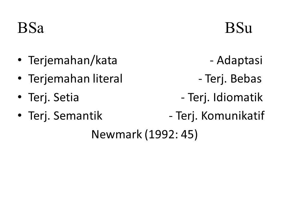BSa BSu Terjemahan/kata - Adaptasi Terjemahan literal - Terj. Bebas
