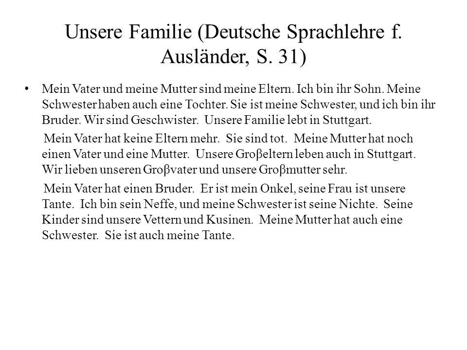 Unsere Familie (Deutsche Sprachlehre f. Auslӓnder, S. 31)