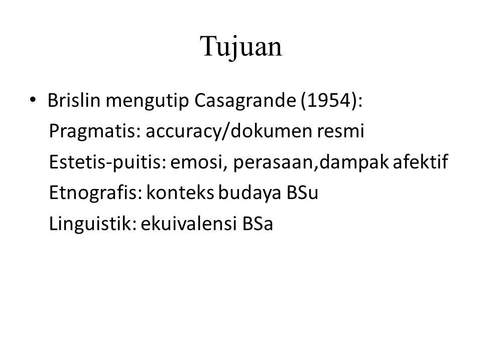 Tujuan Brislin mengutip Casagrande (1954):