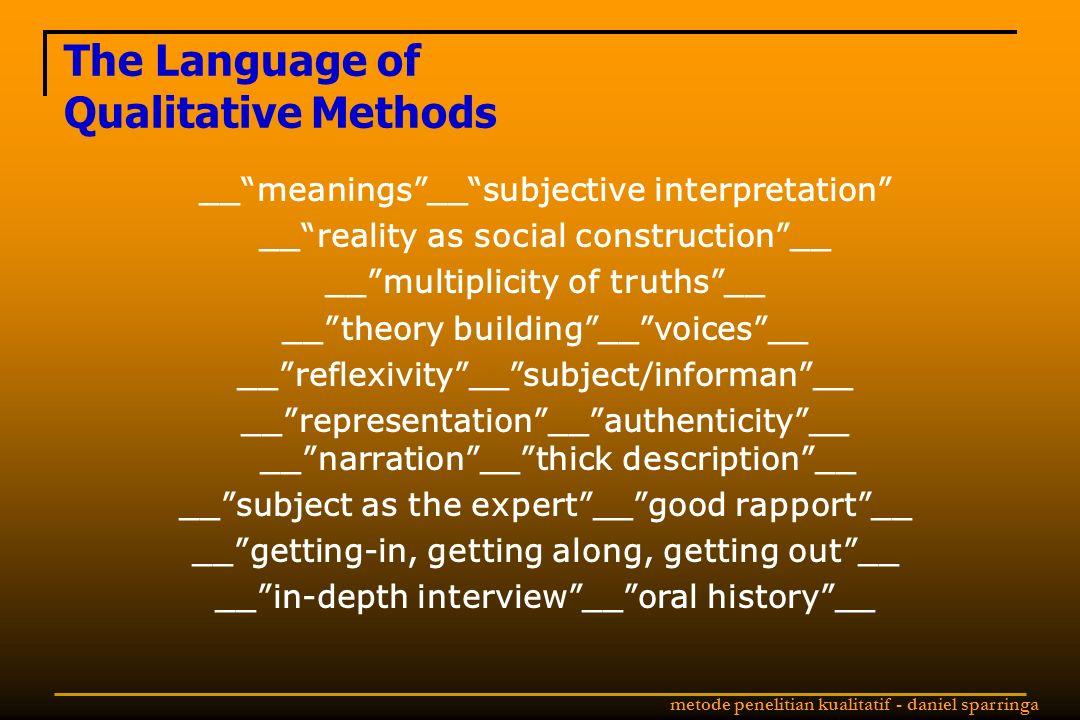 The Language of Qualitative Methods