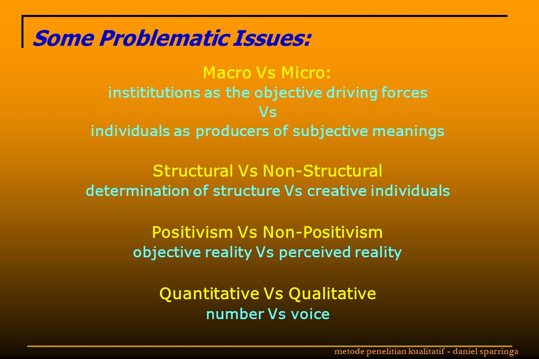 Some Problematic Issues: