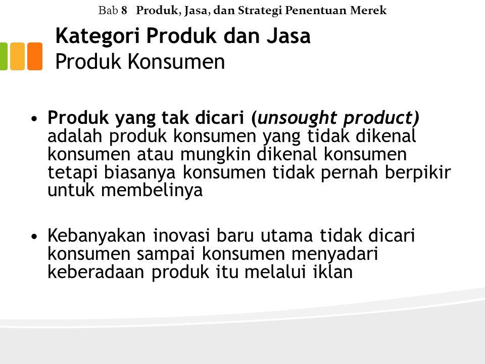 Kategori Produk dan Jasa Produk Konsumen