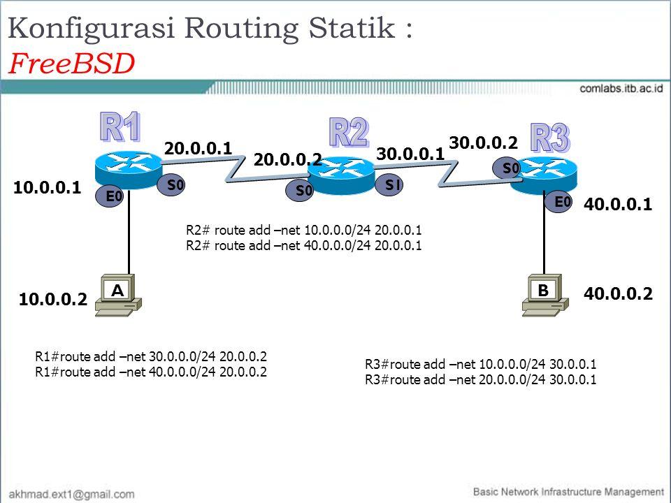 Konfigurasi Routing Statik : FreeBSD