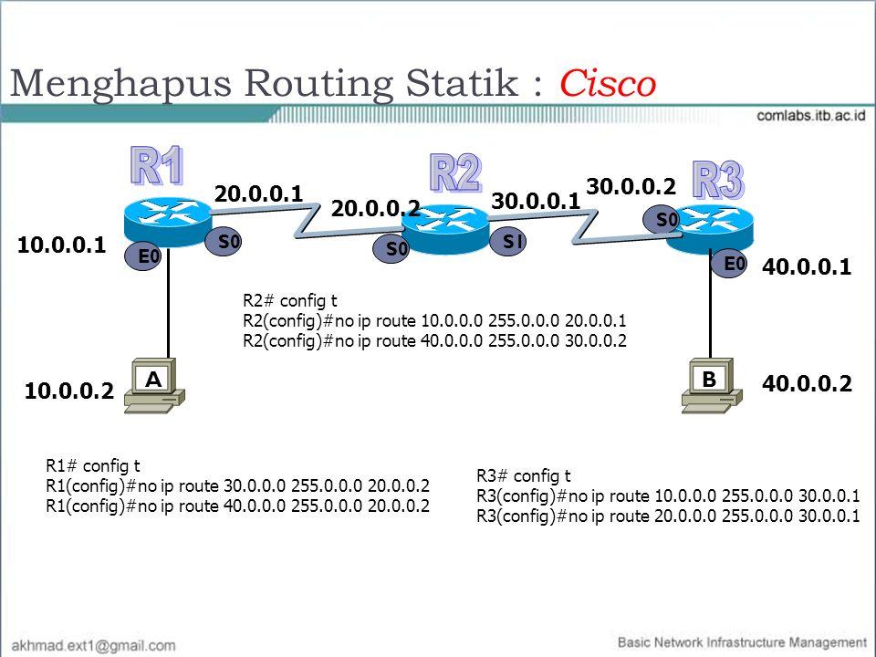 Menghapus Routing Statik : Cisco