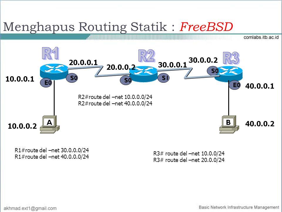 Menghapus Routing Statik : FreeBSD