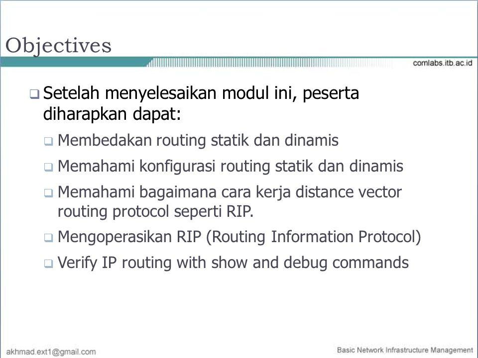 Objectives Setelah menyelesaikan modul ini, peserta diharapkan dapat: