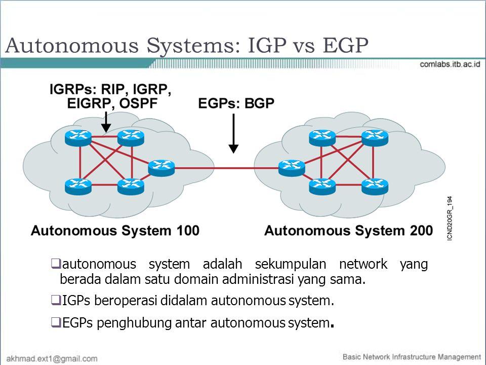 Autonomous Systems: IGP vs EGP