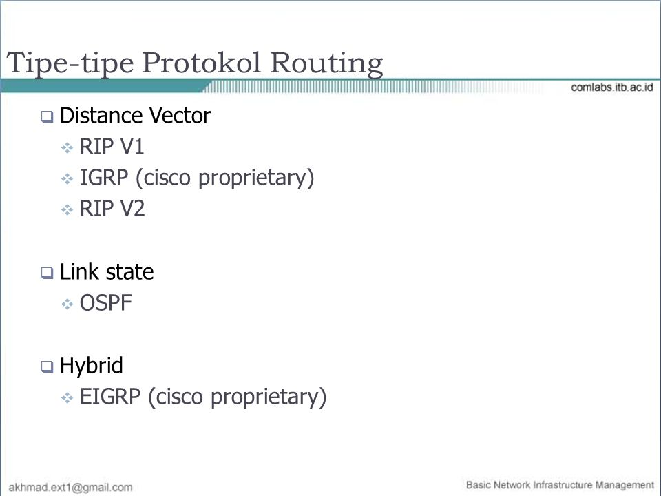 Tipe-tipe Protokol Routing