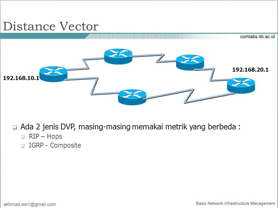 Distance Vector 192.168.10.1. 192.168.20.1. Ada 2 jenis DVP, masing-masing memakai metrik yang berbeda :