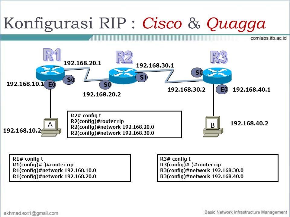 Konfigurasi RIP : Cisco & Quagga