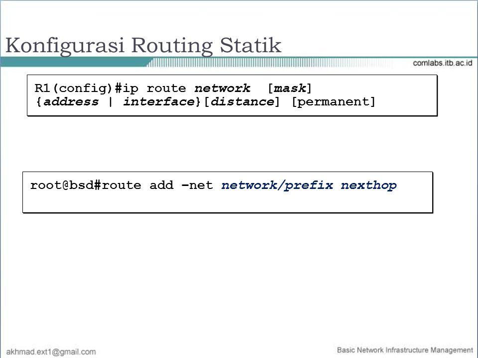Konfigurasi Routing Statik