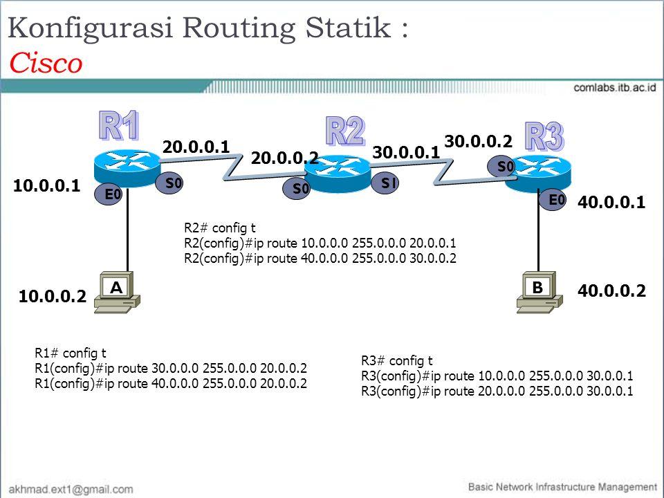 Konfigurasi Routing Statik : Cisco