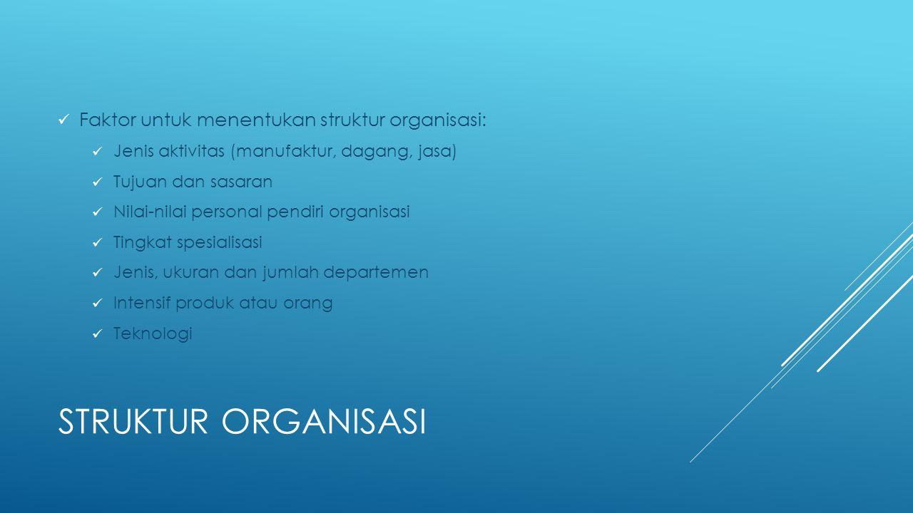 Struktur organisasi Faktor untuk menentukan struktur organisasi: