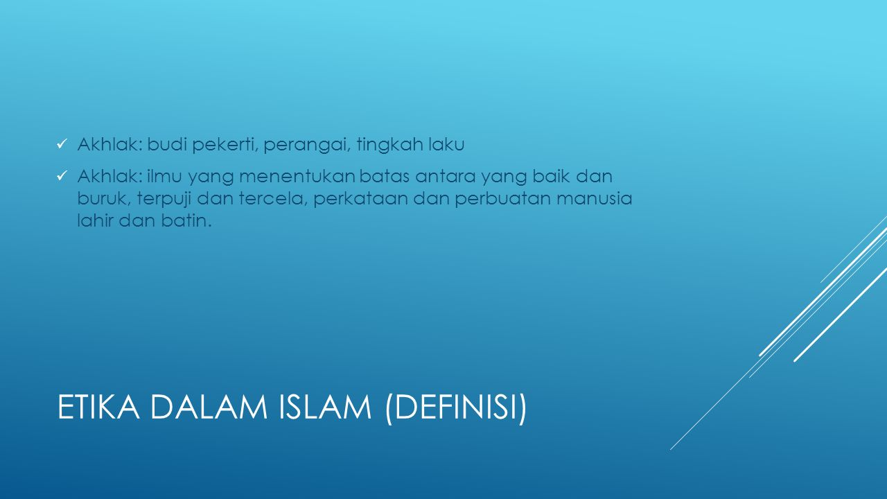Etika dalam islam (definisi)