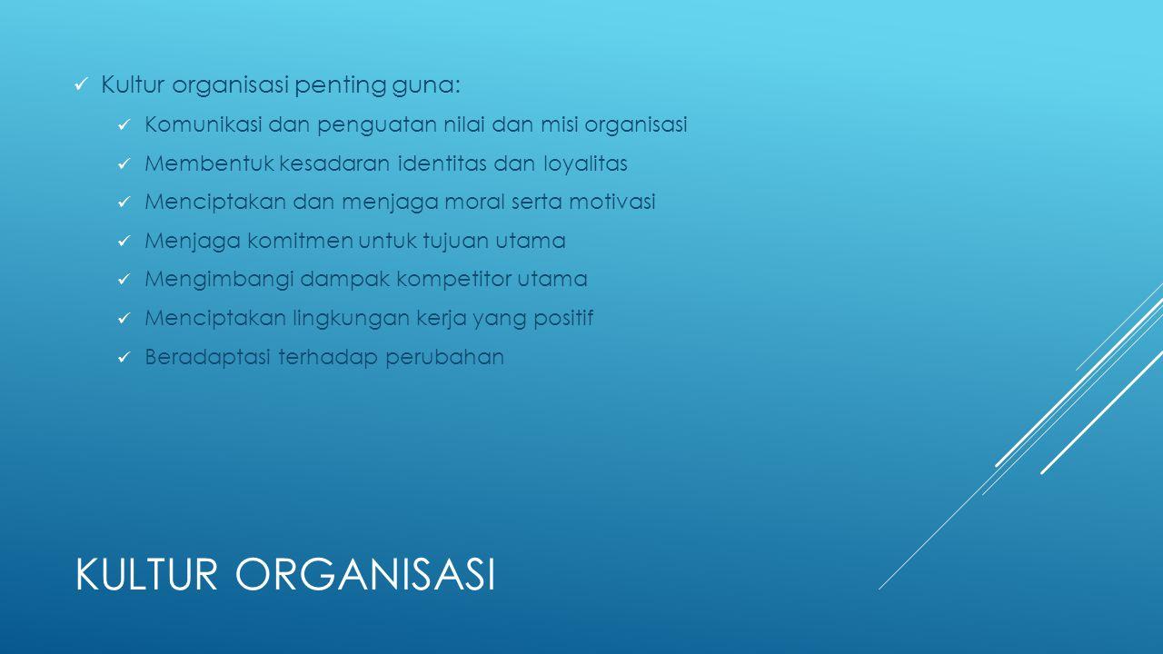 Kultur organisasi Kultur organisasi penting guna: