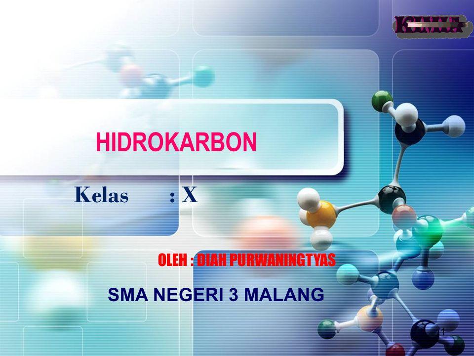 HIDROKARBON Kelas : X OLEH : DIAH PURWANINGTYAS SMA NEGERI 3 MALANG