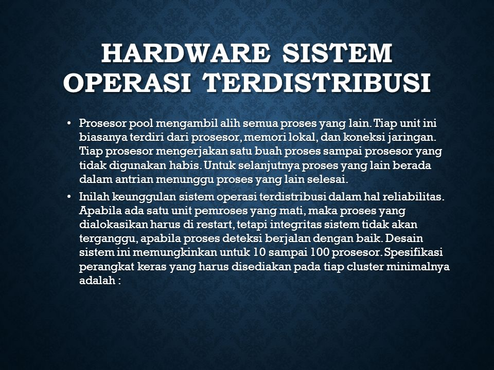 Hardware Sistem Operasi Terdistribusi