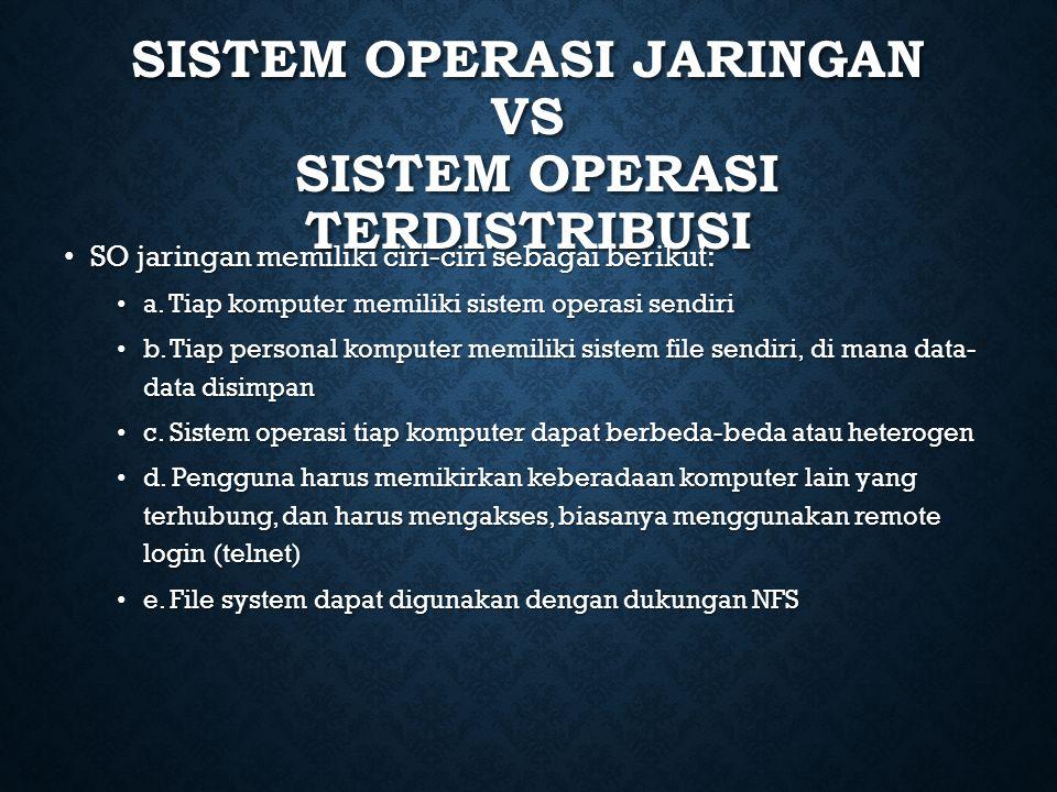 Sistem Operasi Jaringan Vs Sistem Operasi Terdistribusi