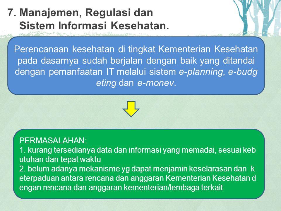 7. Manajemen, Regulasi dan Sistem Informasi Kesehatan.