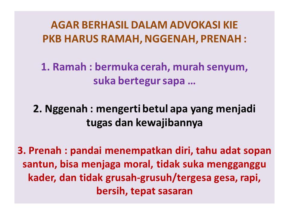 AGAR BERHASIL DALAM ADVOKASI KIE PKB HARUS RAMAH, NGGENAH, PRENAH : 1