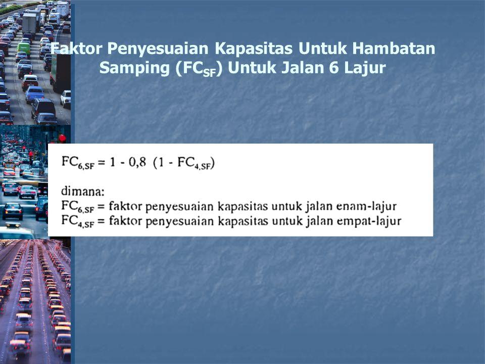 Faktor Penyesuaian Kapasitas Untuk Hambatan Samping (FCSF) Untuk Jalan 6 Lajur