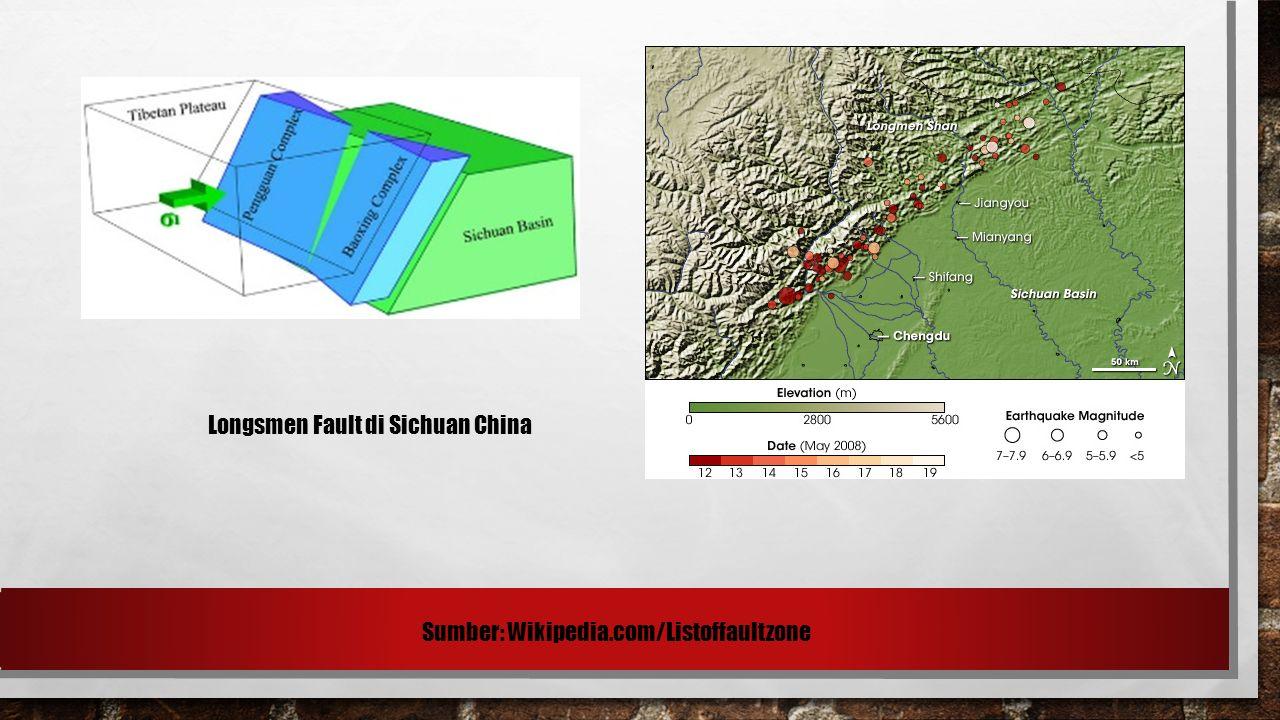 Longsmen Fault di Sichuan China