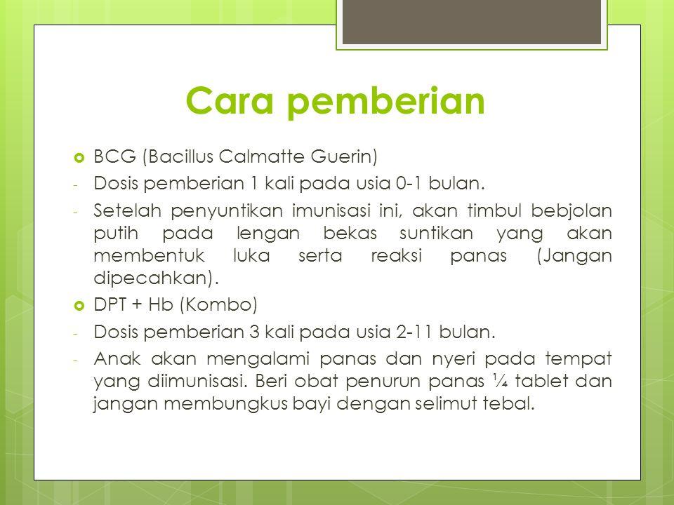 Cara pemberian BCG (Bacillus Calmatte Guerin)