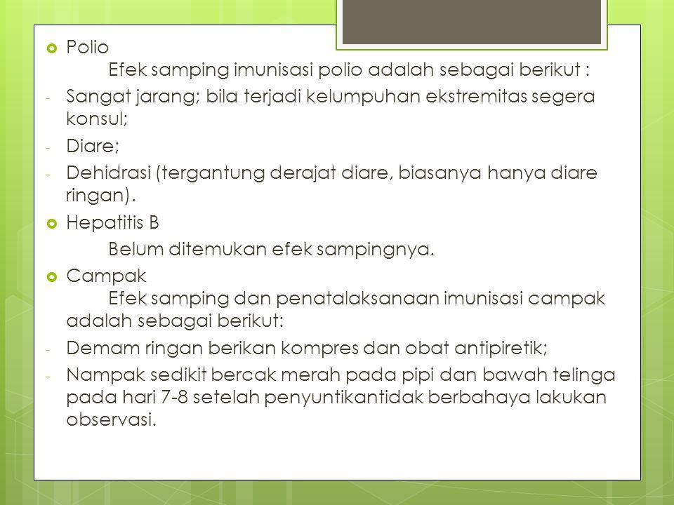 Polio Efek samping imunisasi polio adalah sebagai berikut :