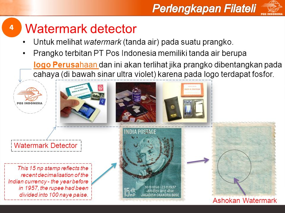 Watermark detector Perlengkapan Filateli 4