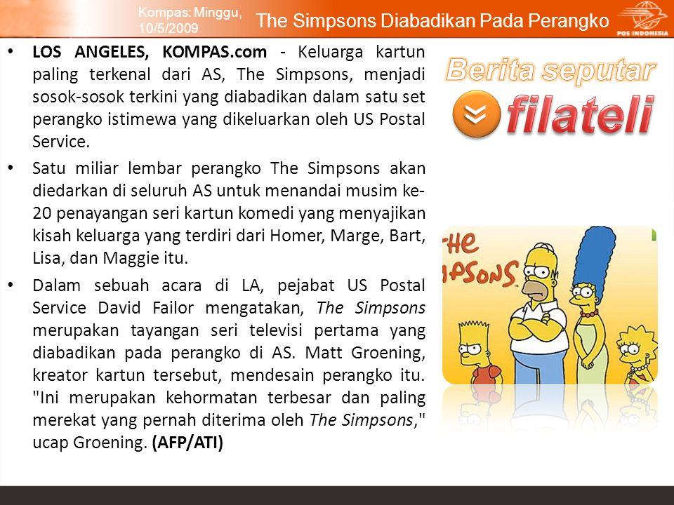 The Simpsons Diabadikan Pada Perangko