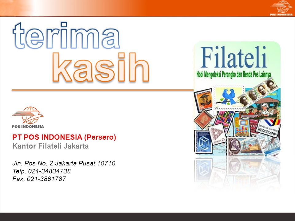 kasih terima PT POS INDONESIA (Persero) Kantor Filateli Jakarta