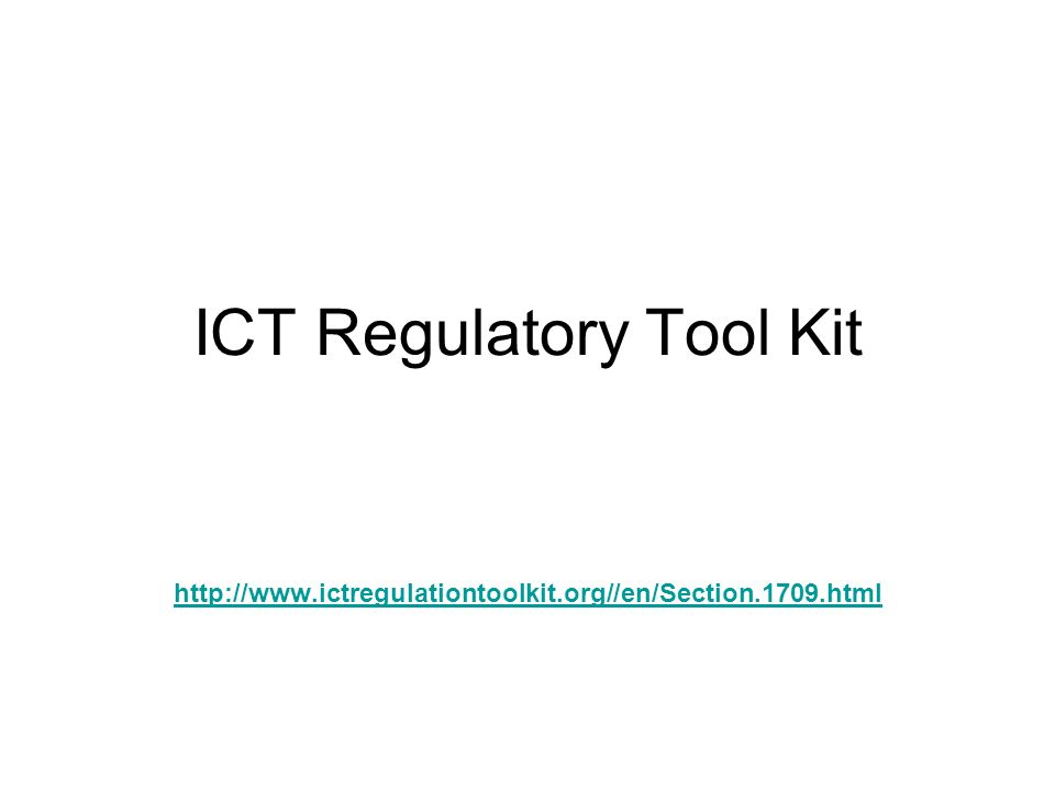 ICT Regulatory Tool Kit