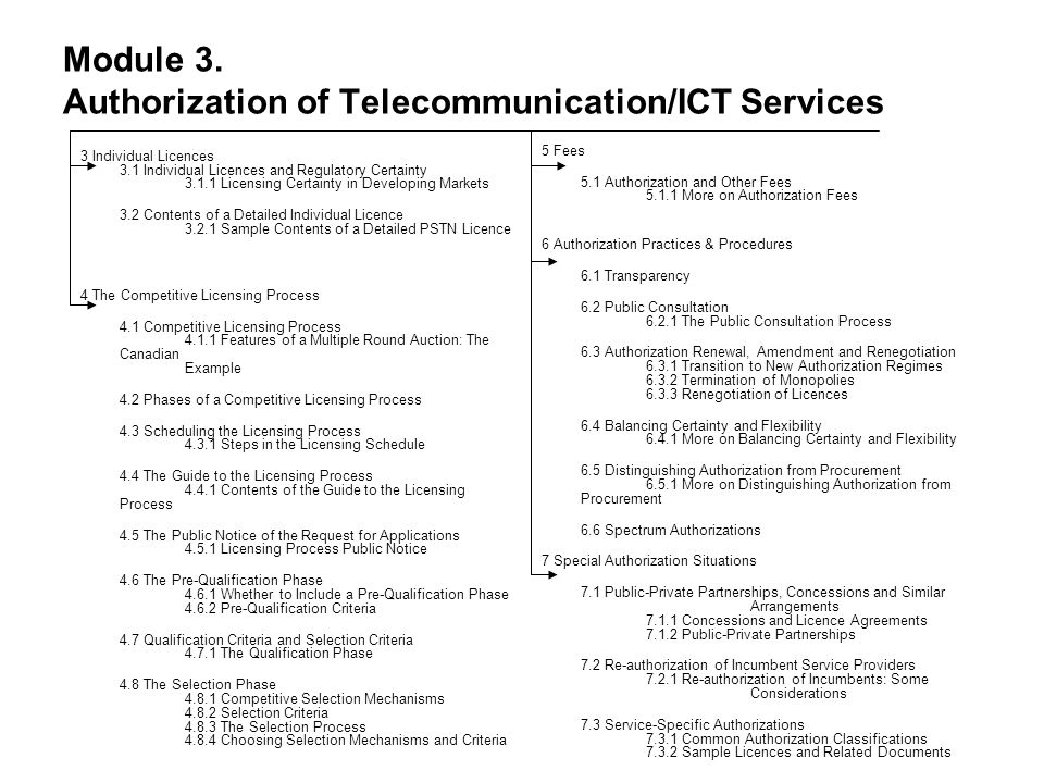 Module 3. Authorization of Telecommunication/ICT Services