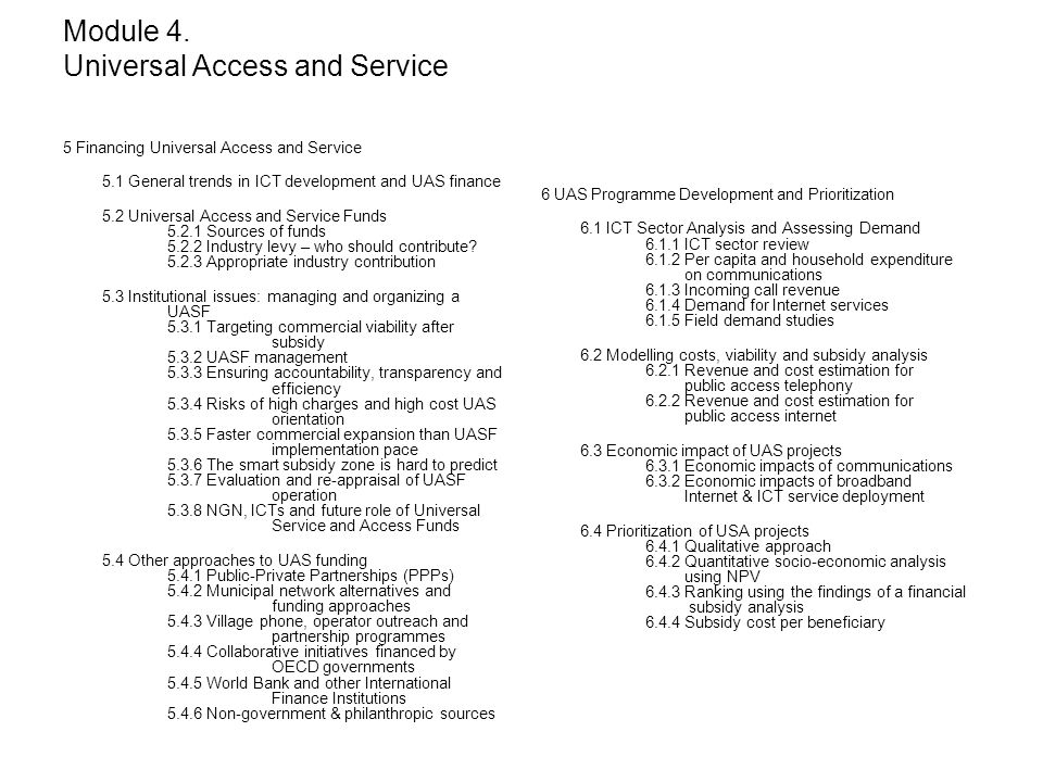 Module 4. Universal Access and Service
