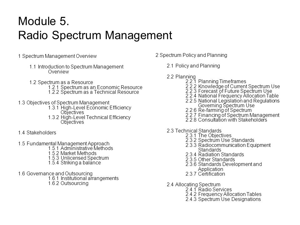 Module 5. Radio Spectrum Management