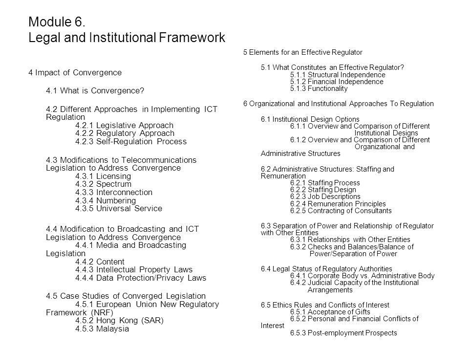 Module 6. Legal and Institutional Framework