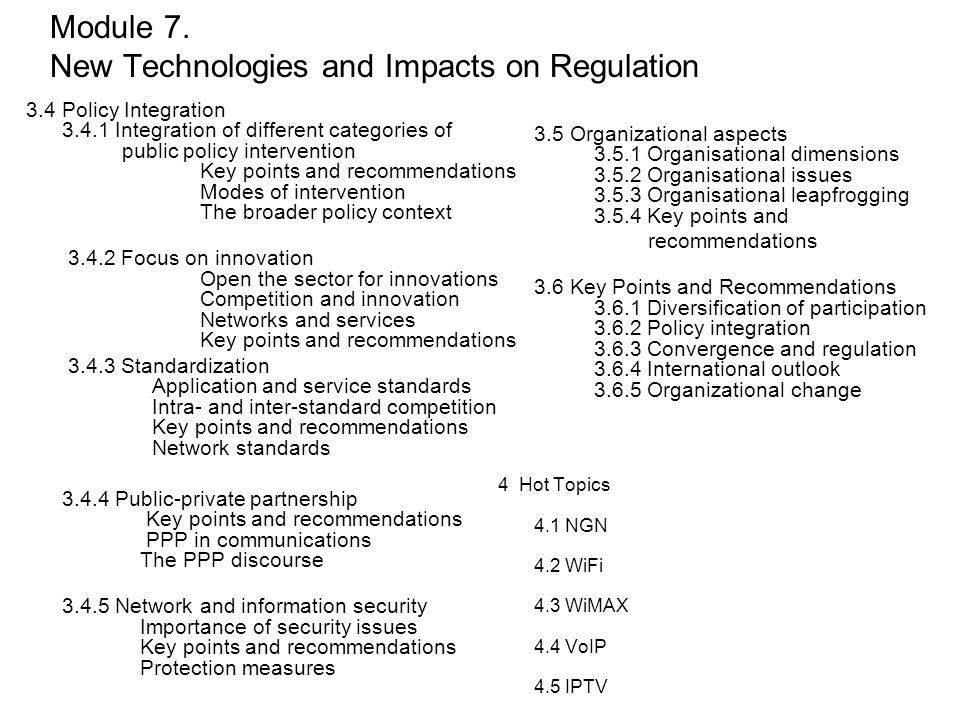 Module 7. New Technologies and Impacts on Regulation