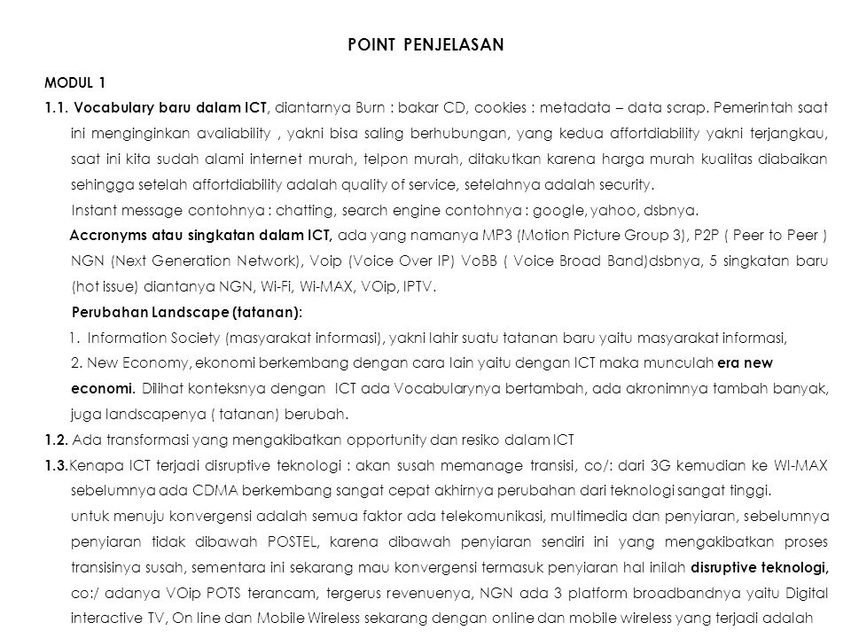 POINT PENJELASAN MODUL 1