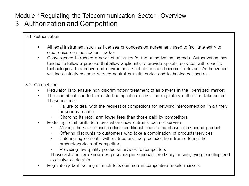 Module 1Regulating the Telecommunication Sector : Overview 3
